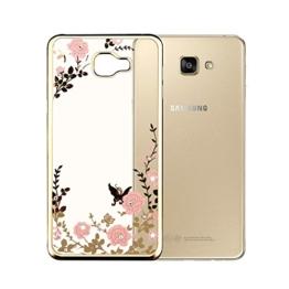 MOONCASE Galaxy A3 2016 Hülle Ultradünnen TPU Case [Secret Garden] Schmetterling Schutzhülle Crystal Löschen Bling Glitter transparent Silikon Tasche für Samsung Galaxy A3 (2016) A310 -Gold und Rosa Blume - 1