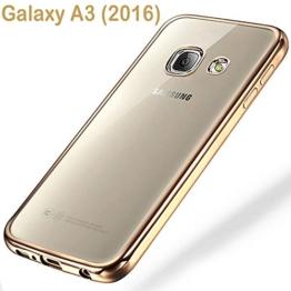 Samsung Galaxy A3 (2016) Schutzhülle Tasche Durchsichtig Transparent - Rand Gold - 1