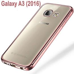 Samsung Galaxy A3 (2016) Schutzhülle Tasche Durchsichtig Transparent - Rand Rosa - 1