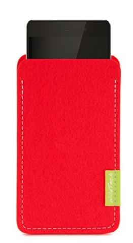 WildTech Sleeve für Huawei Mate 9 Hülle Tasche aus echtem Wollfilz - 17 Farben (Handmade in Germany) - Hellrot - 1