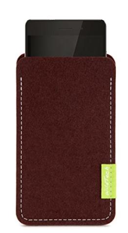 WildTech Sleeve für Huawei Mate 9 Hülle Tasche aus echtem Wollfilz - 17 Farben (Handmade in Germany) - Dunkelbraun - 1