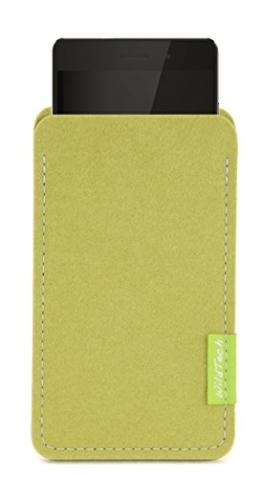 WildTech Sleeve für Huawei Mate 9 Hülle Tasche aus echtem Wollfilz - 17 Farben (Handmade in Germany) - Lindgrün - 1