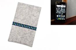 """flat.design Filzhülle """"Lisboa"""" für Kodak Ektra - Schutz Handytasche aus 100% Wollfilz (hellgrau) - made in Germany Smartphone Case im Slim fit Design für Kodak Ektra - 1"""