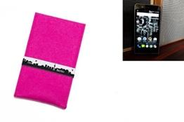 """flat.design Filztasche """"Berlin"""" für Kodak Ektra - Maßanfertigung der Filz schutzhülle aus 100% Wollfilz (pink) - Case Hülle im Slim fit Design für Kodak Ektra - 1"""