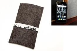 """flat.design Handyhülle """"Hamburg"""" für Kodak Ektra - Maßanfertigung der Filz Schutzhülle aus 100% Wollfilz (anthrazit) - Case Filz Tasche im Slim fit Design für Kodak Ektra - 1"""