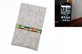 """flat.design Handyhülle """"Lisboa"""" für Kodak Ektra - Filz Tasche aus 100% Wollfilz (hellgrau) maßgefertigt in Deutschland - Smartphone Schutz Case im Slim fit Design für Kodak Ektra - 1"""
