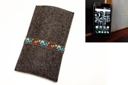 """flat.design Handyhülle """"Lisboa"""" für Kodak Ektra - maßgefertigte Filzhülle aus 100% Natur Filz (anthrazit) - made in Germany Smartphone Tasche im Slim Fit Design für Kodak Ektra - 1"""