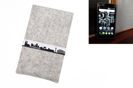 """flat.design Handyhülle """"München"""" für Kodak Ektra - made in Germany Filztasche aus 100% Wollfilz (hellgrau) - passgenaue Smartphone Hülle im Slim fit Design für Kodak Ektra - 1"""