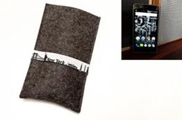 """flat.design Handyhülle """"New York"""" für Kodak Ektra - passgenaue Filztasche aus 100% WollFilz (anthrazit) - handgefertigte Smartphone Tasche im Slim fit Design für Kodak Ektra - 1"""