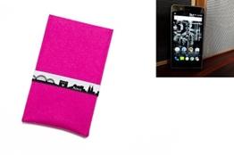 """flat.design Handytasche """"Köln"""" für Kodak Ektra - Filzhülle aus 100% Wollfilz (pink) hand made in Germany - Case Schutz Tasche im Slim fit Design für Kodak Ektra - 1"""