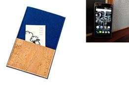 """flat.design Smartphonehülle """"Évora"""" für Kodak Ektra - maßgefertigte Schutztasche aus 100% Wollfilz (blau) und echtem Kork - Pouch Handy Filzhülle im Slim fit Design für Kodak Ektra - 1"""