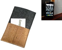 """flat.design Smartphonehülle """"Évora"""" für Kodak Ektra - maßgefertigte Schutztasche aus 100% Wollfilz (anthrazit) und echtem Kork - Pouch Handy Filzhülle im Slim fit Design für Kodak Ektra - 1"""