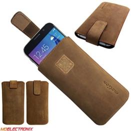 1A ECHT LEDER BRAUN Slim Cover Case Schutz Hülle Etui Tasche für Lenovo Moto Z Play -