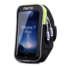 [Armtasche] FREEOO Sport Armband Handytasche mit sensibelem Touchscreen Wasser-und Schweißabweisende Smartphone Armtasche mit 3 Kopfhörerauslassen für Handy bis 6 Zoll wie Iphone 6/6s/7/7Plus MUST HAVE Sport Accesoire für Joggen Radsport Wandern usw. -