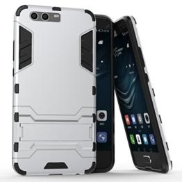 AVIDET Huawei P10 Hülle - Bumper und Anti-Scratch 2 In1 TPU Silikon Case für Huawei P10 (silbern) -