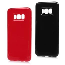 """Badalink 2 * Silikon Handy Hülle Für Samsung Galaxy S8 5.8"""" Hülle Bonbonfarben Ultra Slim Weich TPU Gummi Bumper Case Schutzhülle Protective Back Soft Case Cover Schale Tasche Skin Schwarz Rot -"""