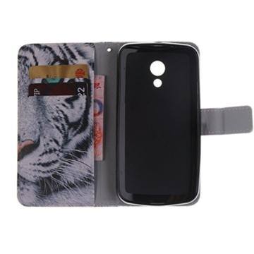 COWX Leder Hülle für Motorola Moto G2 2nd Gen Moto G 2 Generation Schutzhülle Handyhülle Taschen Schalen Handy Tasche Flip Wallet Stil case Lederhülle Mit 1x Reinigungstuch -