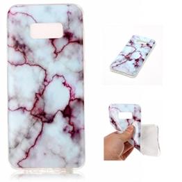 Cozy Hut Für Samsung Galaxy S8 Edge Handyhülle mit Marmor / Marble Design(Rote / weiß) | Handytasche | | Schale | | Hülle | | Case | Handy-etui | TPU-Bumper | Soft Case | Schutzhülle Cover für den optimalen Schutz ihres Samsung Galaxy S8 Edge - Roter Marmor -