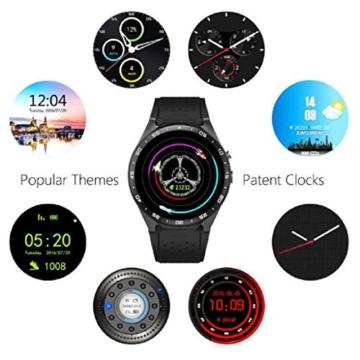 ★Loveso★ -Smartwatch Smart-Uhren Android 5.1 und IOS GPS WIFI KW88 Quad Core 4GB Bluetooth Smart Watch_Schwarz -