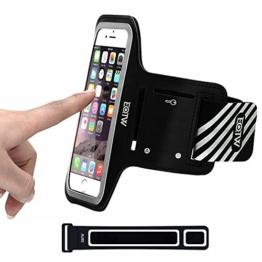 EOTW Sportarmband Handyhülle universell passend für iPhone, Samsung, HTC, usw., Oberarmtasche In Verschiedenen Farben und Größen für Laufen (4,7 Zoll, Schwarz) -