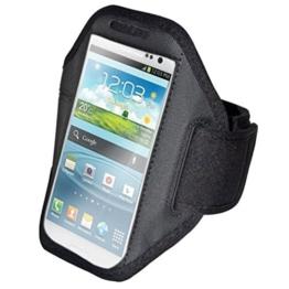 euro-handel24 handy-point Armhalter, Armband für Sport, Laufen, Joggen für Samsung Galaxy S4, S5, S5 Neo, S6, S7, A5 2016, Alpha, Grand Neo, Sony Xperia Z1, Z2, Z3, Z3+, Sony Z5 Compact, HTC One M8, M9,One E8, A9, Desire Eye, 620, LG L Bello, G3s, L80, G2, Lumia 535, 930, 830... Universell 14,5 cm x 8 cm mit Fach für Schlüssel, Kopfhörer, Schwarz -