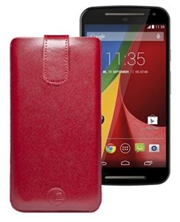 Favory Tasche Leder Etui / Motorola Moto G 2015 (3. Generation) / ECHT Ledertasche Hülle Schutzhülle (Lasche mit Rückzugfunktion) rot -