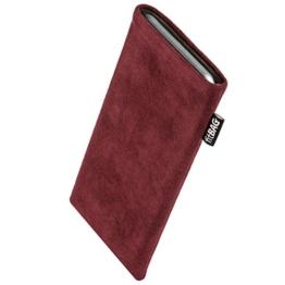 fitBAG Classic Weinrot Handytasche Tasche aus original Alcantara mit Microfaserinnenfutter für Samsung Galaxy S8+ / S8 Plus SM-G955F | Schlanke Hülle als edles Zubehör mit praktischer Reinigungsfunktion | Rundumschutz | Made in Germany -