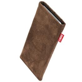 fitBAG Country Braun Handytasche Tasche aus Wildlederimitat mit Microfaserinnenfutter für LG G6 | Schlanke Hülle als edles Zubehör mit praktischer Reinigungsfunktion | Rundumschutz | Made in Germany -