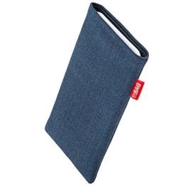fitBAG Jive Blau Handytasche Tasche aus Textil-Stoff mit Microfaserinnenfutter für Samsung Galaxy S8 SM-G950F | Schlanke Hülle als edles Zubehör mit praktischer Reinigungsfunktion | Rundumschutz | Made in Germany -
