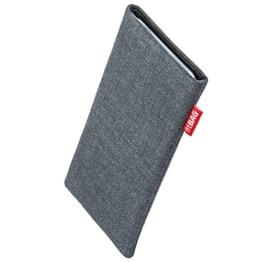 fitBAG Jive Grau Handytasche Tasche aus Textil-Stoff mit Microfaserinnenfutter für Samsung Galaxy S8+ / S8 Plus SM-G955F | Schlanke Hülle als edles Zubehör mit praktischer Reinigungsfunktion | Rundumschutz | Made in Germany -