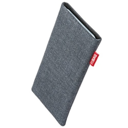 fitBAG Jive Grau Handytasche Tasche aus Textil-Stoff mit Microfaserinnenfutter für Samsung Galaxy S8 SM-G950F   Schlanke Hülle als edles Zubehör mit praktischer Reinigungsfunktion   Rundumschutz   Made in Germany -