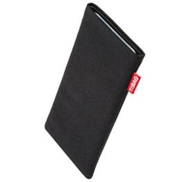 fitBAG Rave Schwarz Handytasche Tasche aus Textil-Stoff mit Microfaserinnenfutter für Samsung Galaxy S8 SM-G950F | Schlanke Hülle als edles Zubehör mit praktischer Reinigungsfunktion | Rundumschutz | Made in Germany -