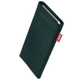 fitBAG Rave Smaragd Handytasche Tasche aus Textil-Stoff mit Microfaserinnenfutter für LG G6 | Schlanke Hülle als edles Zubehör mit praktischer Reinigungsfunktion | Rundumschutz | Made in Germany -