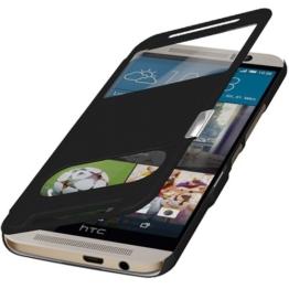 Flip Cover Tasche HTC ONE 3 M9 Schutzhülle Hülle Handytasche Klapptasche Bookcase Buchtasche Case Schwarz Magnetverschluss + aunrufe und gespräche im geschlossenen !! Gratis Folie Displayschutzfolie Screenprotector mit Microfasertuch Original q1® Markenware -