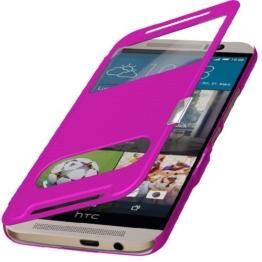 Flip Cover Tasche HTC ONE 3 M9 Schutzhülle Hülle Handytasche Klapptasche Bookcase Buchtasche Case Pink Magnetverschluss + anrufe und gespräche im geschlossenen + Gratis Folie Displayschutzfolie Screenprotector mit Microfasertuch Original q1® Markenware -