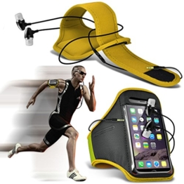 Fone-Case (Yellow) Google Pixel XL Einstellbare Sport-Armband Fall-Abdeckung für Laufen Jogging Radfahren Gym With Premium Quality in Ear Buds Stereo Hands Free Headphones Headset with Built in Microphone Mic and On-Off Button -