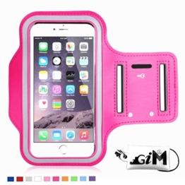 G-i-Mall iphone SE Armband hülle Universal Sportarmband Brassard Joggen Fitness Sport armband Schutz Tasche Handyhülle für 4.1 Zoll iphone SE 5 5S 5C 4S samsung S3 mini ect - Hot Pink -