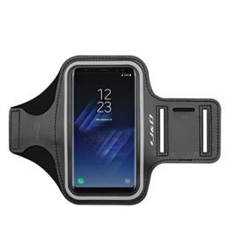 Galaxy S8 Armband, J&D Sport-Armband für Samsung Galaxy S8, zusätzliche Tasche für Schlüssel, perfekte Kopfhörer-Verbindung für unterwegs - Schwarz -