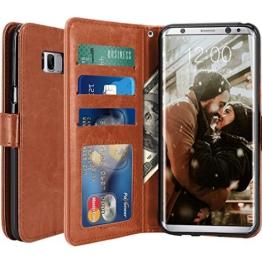 Galaxy S8 Hülle, LK Luxus PU Leder Brieftasche Flip Case Cover Schütz Hülle Abdeckung Ledertasche für Samsung Galaxy S8 (Braun) -