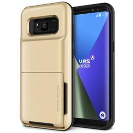 Galaxy S8 Hülle, VRS Design® Kartenfach Schutzhülle [Gold] Schlagfesten Case Kratzfeste Stoßsichere Handyhülle [Damda Folder] für Samsung Galaxy S8 2017 -
