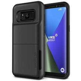 Galaxy S8 Hülle, VRS Design® Kartenfach Schutzhülle [Schwarz] Schlagfesten Case Kratzfeste Stoßsichere Handyhülle [Damda Folder] für Samsung Galaxy S8 2017 -