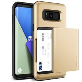 Galaxy S8 Hülle, VRS Design® Schutzhülle [Gold] Schlagfesten Case Kratzfeste Stoßsichere Handyhülle Halbautomatik Schiebetür mit Kartenfach [Damda Glide] für Samsung Galaxy S8 2017 -