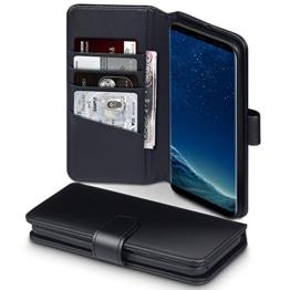 Galaxy S8 Plus Case, Terrapin [ECHT LEDER] Brieftasche Case Hülle mit Standfunktion Kartenfächer und Bargeld für Samsung Galaxy S8 Plus Hülle Schwarz -