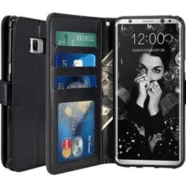 Galaxy S8 Plus Hülle, LK Luxus PU Leder Brieftasche Flip Case Cover Schütz Hülle Abdeckung Ledertasche für Samsung Galaxy S8 Plus (Schwarz) -