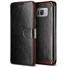 Galaxy S8 Plus Hülle, VRS Design® Leder Schutzhülle [Schwarz] Schlanke Prämie PU Leder Tasche Stoßsichere Lederhülle Brieftasche Case mit 3 Kartenfach [Layered Dandy] für Samsung Galaxy S8 Plus 2017 -
