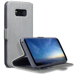 Galaxy S8 Plus Tasche, Terrapin Leder Tasche Case Hülle im Bookstyle mit Standfunktion Kartenfächer für Samsung Galaxy S8 Plus Hülle Grau -