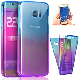 Galaxy S8 Plus Tpu Handyhülle,Silikon hülle für Samsung Galaxy S8 Plus,JAWSEU Kreative Gradient Color 360°Schutz Durchsichtig Weich Gel Ultradünn Case Etui Transparent Clear Slim Fit Flexibel Rubber Fall Tasche Schutzhülle für Samsung Galaxy S8 Plus+1xSchwarz Glitzer Bling Eingabestift-Blau+Lila -