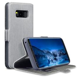 Galaxy S8 Tasche, Terrapin Leder Tasche Case Hülle im Bookstyle mit Standfunktion Kartenfächer für Samsung Galaxy S8 Hülle Grau -