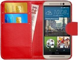 GizzmoHeaven HTC One M9 Leder Klappetui Schutzhülle Tasche mit Karte Halter Case Cover Etui Hülle für HTC One M9 mit Displayschutzfolie und Stylus-Stift - Rot -