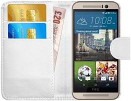 GizzmoHeaven HTC One M9 Leder Klappetui Schutzhülle Tasche mit Karte Halter Case Cover Etui Hülle für HTC One M9 mit Displayschutzfolie und Stylus-Stift - Weiß -